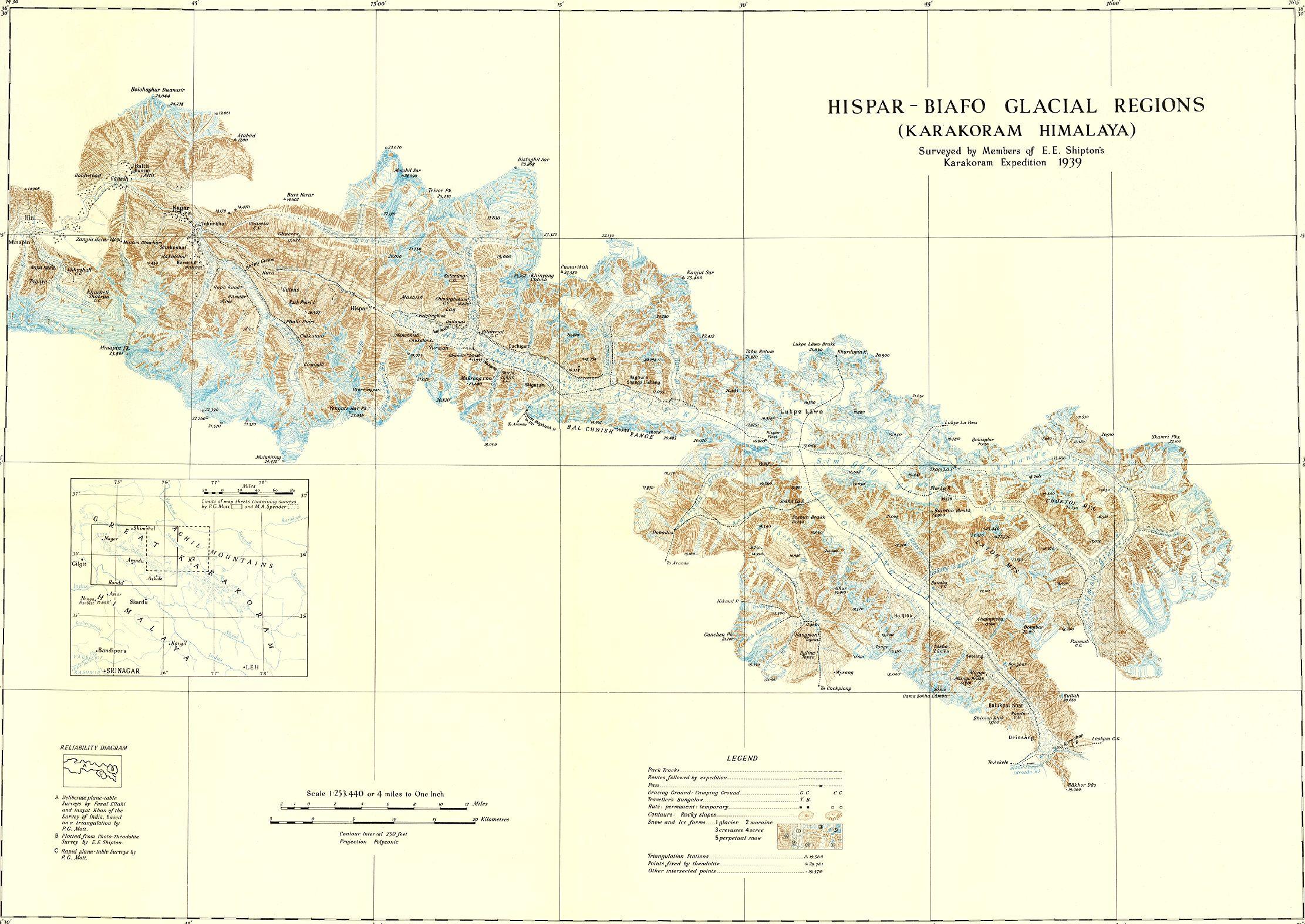 """Central Karakoram (karakorum) : Principal glaciers, Peaks and passes"""">"""